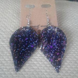 Vegan leather hook earrings.  Black glitter. NWOT